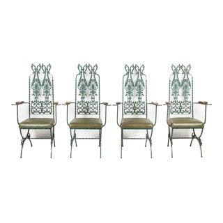 1970s Vintage Modecraft Verdigris Finish Metal Chairs- Set of 4 For Sale