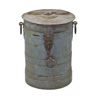 Antique Iron Barrel Side Table