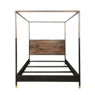 Hampson Wood and Metal Modern Canopy Queen Size Bed For Sale