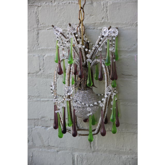 Pineapple Green & Purple Drop Chandelier - Image 5 of 9