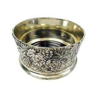 Silverplate & Wood Bottle Coaster For Sale