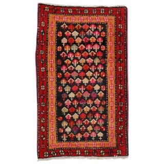 Vintage Persian Hamadan Accent Rug With Tribal Style - 1′10″ × 3′