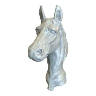 Cast Aluminum Horse Head Sculpture For Sale