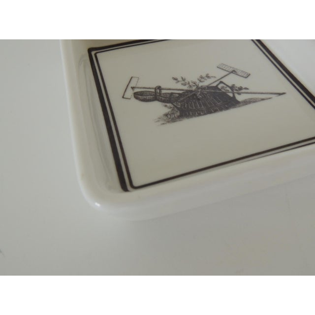 """Pair of vintage porcelain square black and white coasters with garden scene. Size: 4.5"""" x 4.5"""" x 1"""" H"""