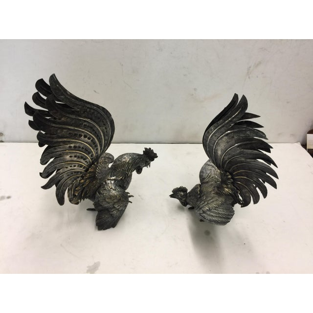 Decorative Silver Roosters - a Pair For Sale In San Francisco - Image 6 of 9