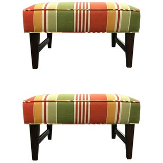 Pair of Danish Modern Trestle Ottomans, Restored