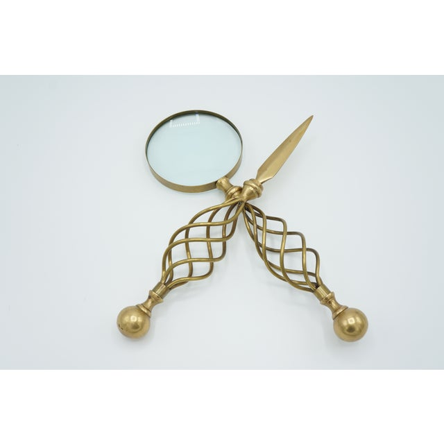 Gold Mid-Century Letter Opener & Magnifying Glass Set For Sale - Image 8 of 8