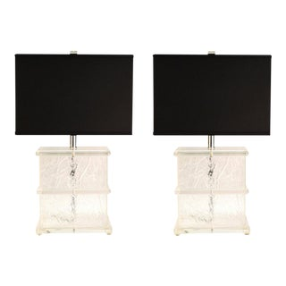Mid-Century Modern Lucite Crackle Table Lamps With Black Shades - a Pair For Sale
