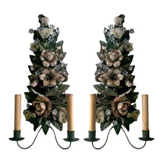 One Pair of French Tole Two-light Wall Sconces.