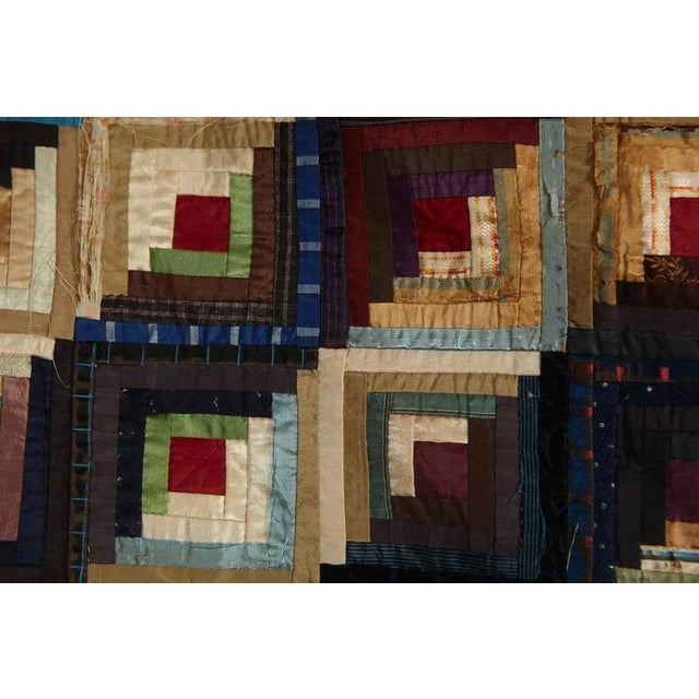 Silk Antique Log Cabin Barn Raising Pieced Silk Quilt For Sale - Image 7 of 8