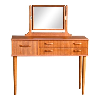 Danish Mid-Century Vanity or Dressing Table in Teak With Mirror and Drawers For Sale