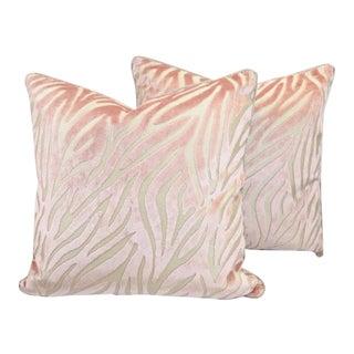 Pink Cut Velvet Zebra Pillows - A Pair