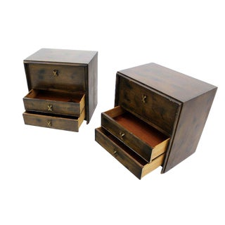 Pair of Paul Frankl Mid Century Modern Night Stands Brass X Pulls For Sale