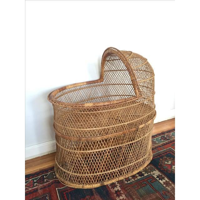 Boho Chic Vintage Bohemian Rattan Bassinet Crib For Sale - Image 3 of 6