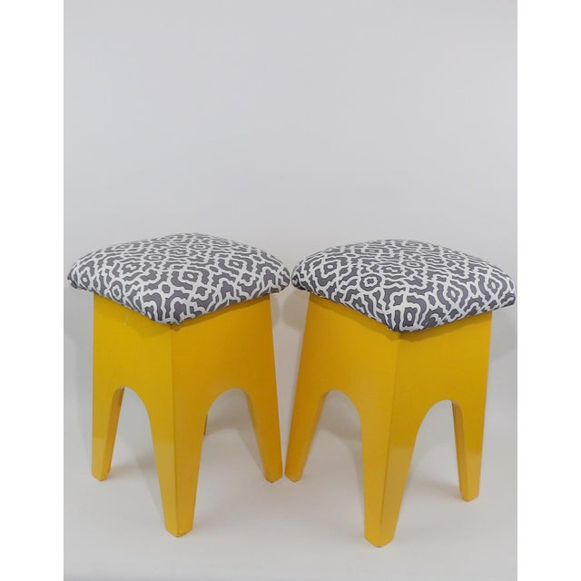 Yellow Mid-Century Modern Marigold Geometric Pattern Stools - A Pair For Sale - Image 8 of 8