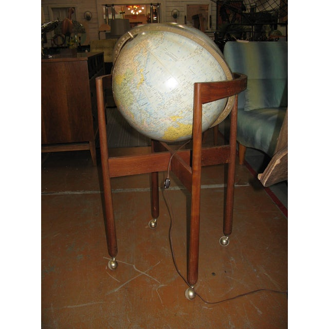Jens Risom Sculptural Walnut Globe on Casters - Image 4 of 11