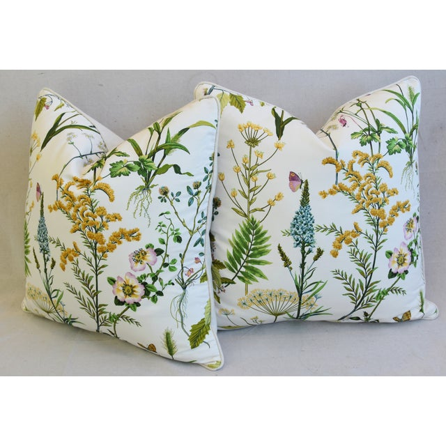 "Wildflower Botanical Cotton & Linen Feather/Down Pillows 24"" Square - Pair For Sale - Image 9 of 13"