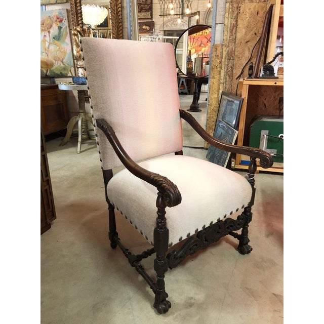 Wood Antique Wool Upholstered Arm Chair For Sale - Image 7 of 7