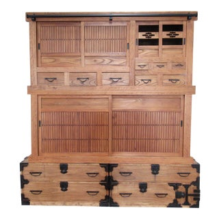 Late 19th Century Japanese Meiji Tansu Wall Unit Cabinet -4 Piece Unit For Sale