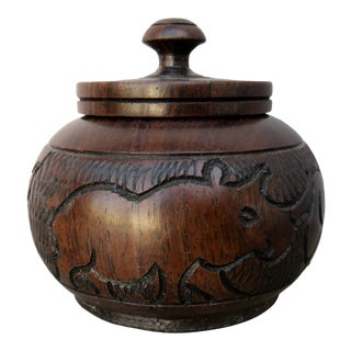 Vintage Carved Wood Lidded Container For Sale