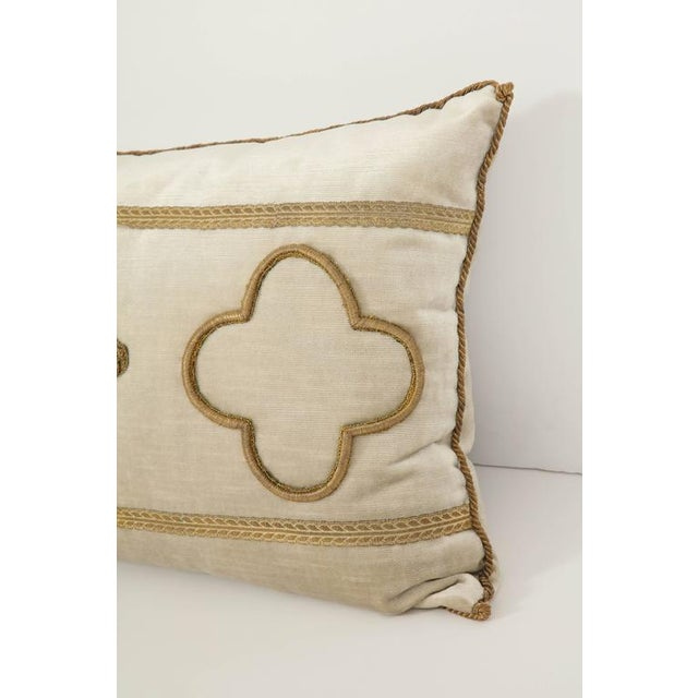 Long Velvet Embroidered Pillow For Sale - Image 4 of 8