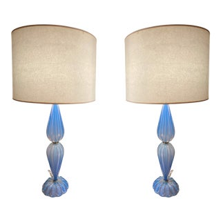 Italian Glass Table Lamps - A Pair For Sale