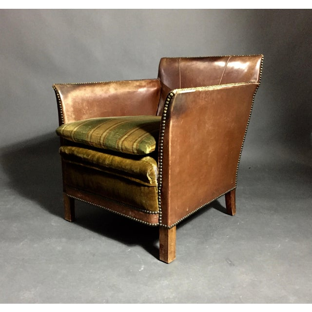 1940s Swedish Square-Back Leather Club Chair For Sale - Image 4 of 11