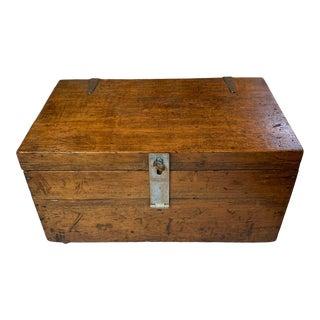 1910s Vintage Industrial Wooden Trunk For Sale