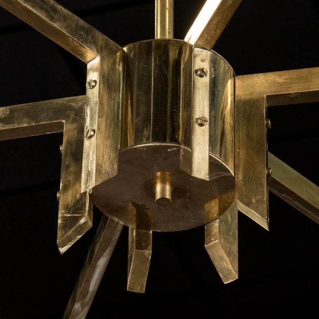 Monumental Italian Mid-Century Brass and White Glass Chandelier - Image 3 of 7
