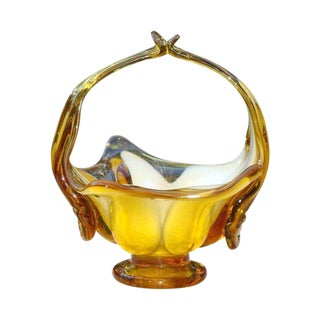 Murano Amber Blown Glass Basket For Sale