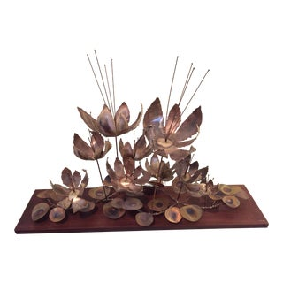 1967 Brutalist Curtis Jere Metal Flowers Sculpture For Sale
