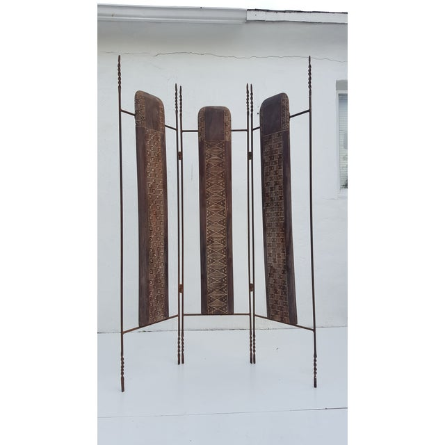 Vintage handmade primitive style metal and carved wood panels details, fold room divider screen. Can be used indoor or...
