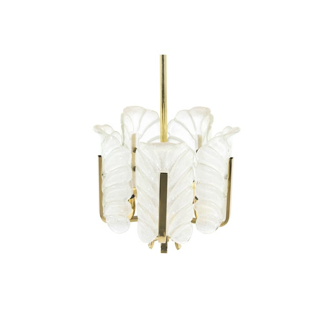 Hollywood Regency Murano Glass Brass Chandelier by Carl Fagerlund for Orrefors, Sweden, 1960s For Sale - Image 3 of 10