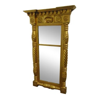 19th Century Empire Gilt Carved Mirror For Sale