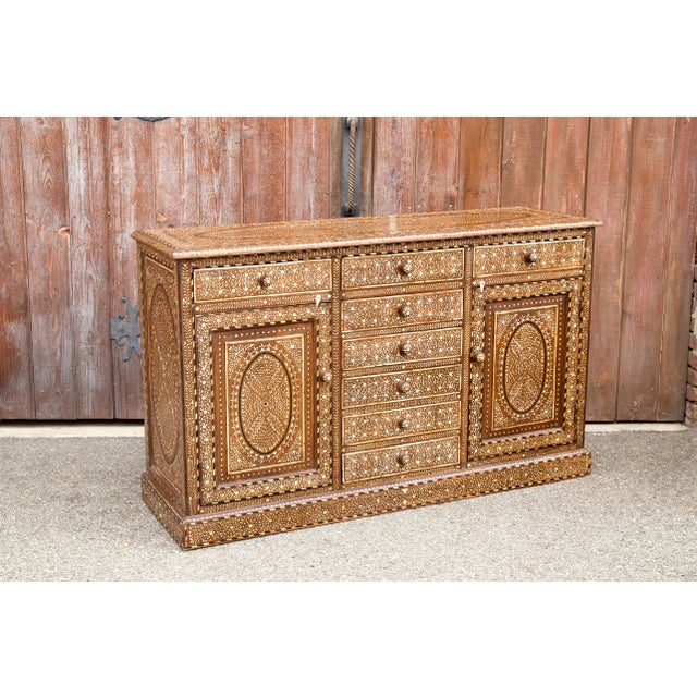 1900 - 1909 Majestic Bone Inlay Credenza For Sale - Image 5 of 9