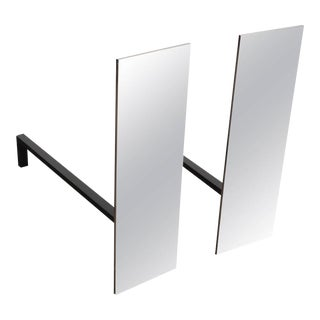Pair of Custom Mid-Century Modernist Style Polished Nickel Rectangular Andirons