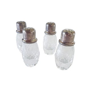 Crystal and Silver Salt & Pepper Shakers- Set of 4 For Sale