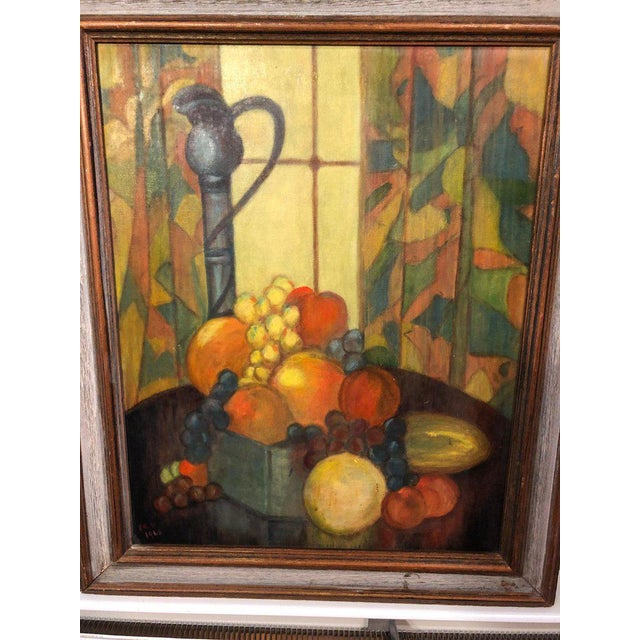 Vintage Mid-Century Still Life on Board Painting For Sale - Image 4 of 13