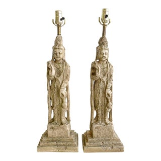 Vintage Pair James Mont Style Buddha Lamps For Sale