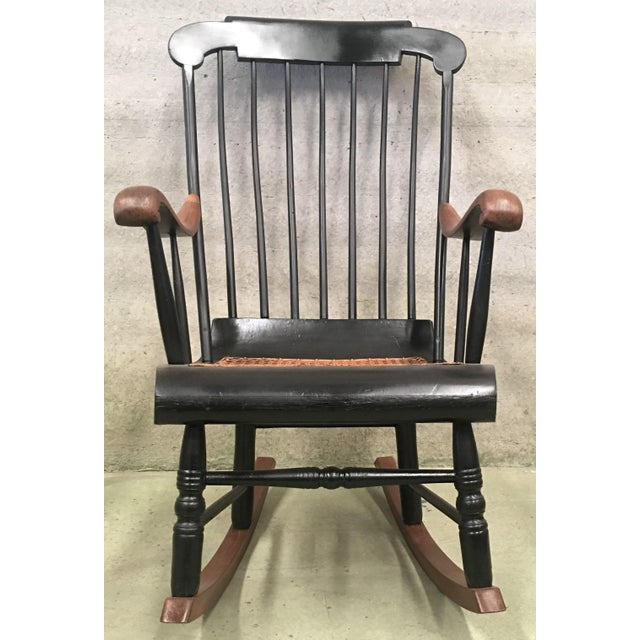 Mid-Century Modern 19th Hitchcock Rocking Chair With Woven Seat and Black Painted For Sale - Image 3 of 9