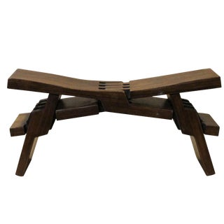 Chinese Brown Wood Folding Rectangular Table Top Stand Display Easel For Sale