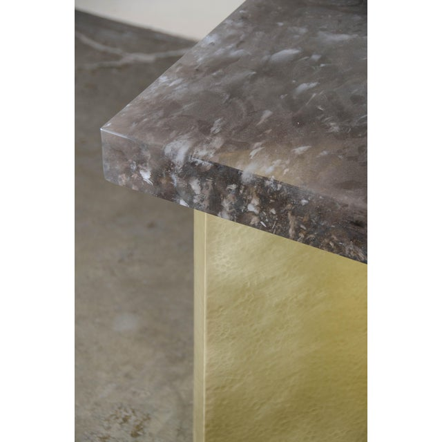 2010s Quad Brass Table Set with Smoke Crystal Top by Robert Kuo, Limited Edition For Sale - Image 5 of 6