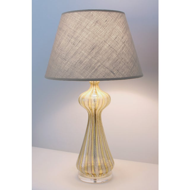 Mid-Century Murano Latticino Glass Lamp For Sale - Image 9 of 9