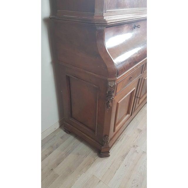 Mahogany 19th Century English Mahogany Wood Bookcase With Secretaire For Sale - Image 7 of 12