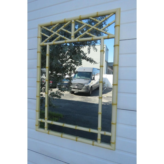 Hollywood Regency Faux Bamboo Distressed Painted Large Mirror For Sale - Image 12 of 13