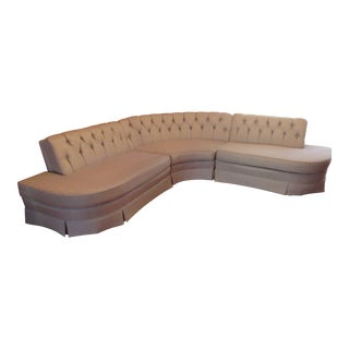 Pale Gray Kroehler Mid Century Modern Custom 3 Seat Curved Sectional Couch Sofa For Sale
