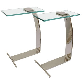 Nickel-Plated & Glass Side Tables by Rick Berry Design Institute of America Dia - a Pair For Sale