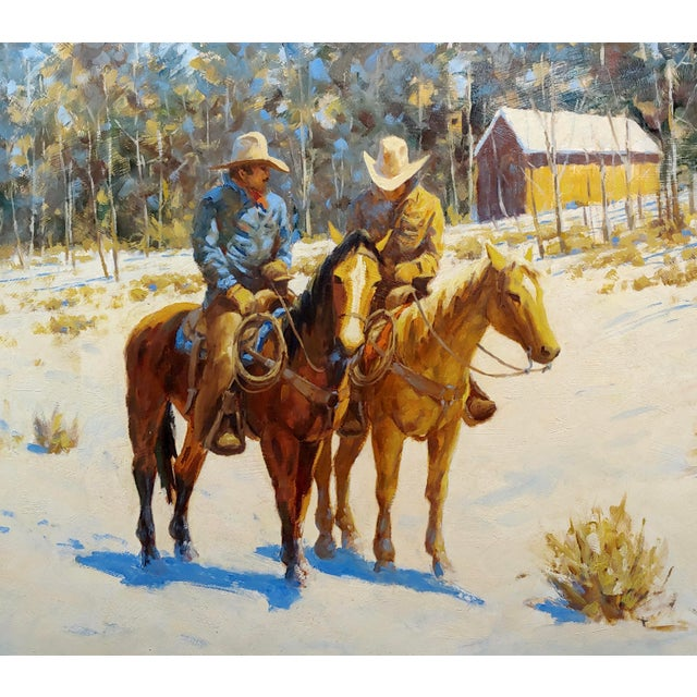 Contemporary 1970s Oil Painting, Cowboys on Horse by Martin Weekly For Sale - Image 3 of 8