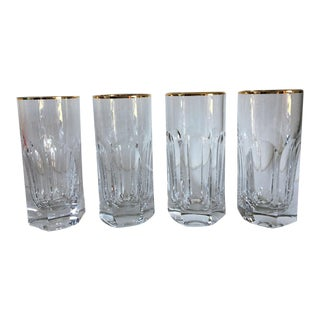 Moving Sale - Make an Offer - Everything Must Go - - Ralph Lauren Crystal High Ball Gold Rimmed Glasses - Set of 4