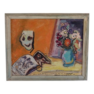 1940s Vintage Framed Still Life with Flowers & Mask Painting For Sale